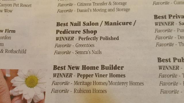 Perfectly Polished Winner of Best Nail Salon 2015 Readers Choice Awards